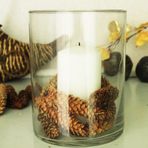 Candle and pinecones in glass vase