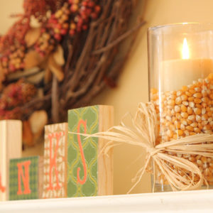 Fall decor glass vase with corn