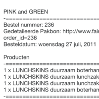 Invoice for four Lunchskins