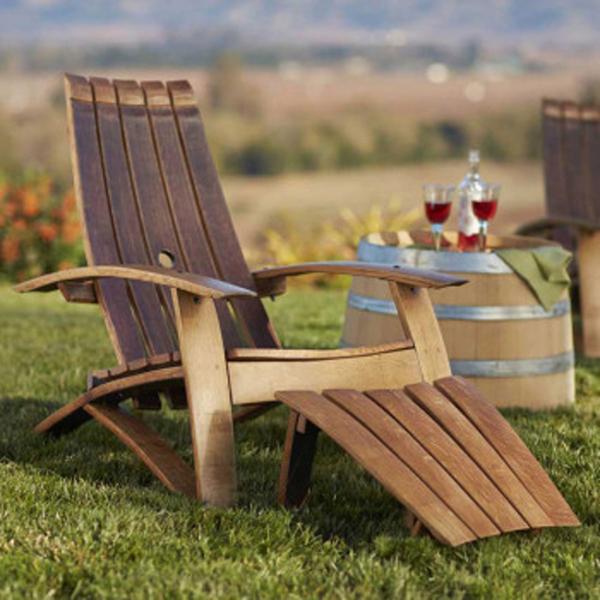 Wine Barrel Adirondack Chair And Footstool