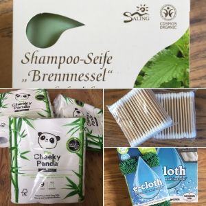 Shampoo bar, bamboo toilet paper, wooden cotton swaps and eco-friendly cleaning cloths