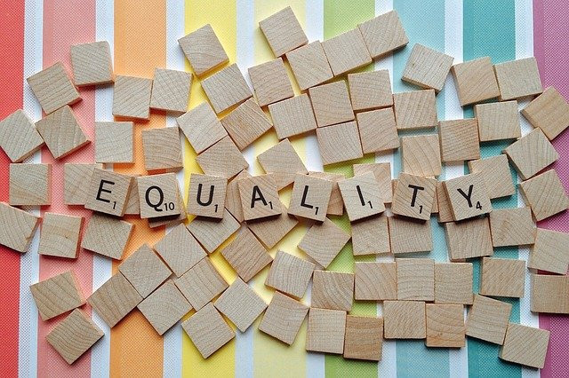 Scrabble letters spelling the word equality