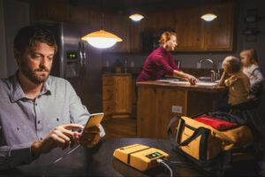 Family using GoSun solar lights in their kitchen
